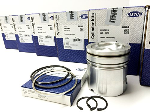 5.9 5.9L CUMMINS 2004-08 MAHLE STANDARD Pistons With Rings H/O 17:1 Pistons Matched & Balanced 6 ea