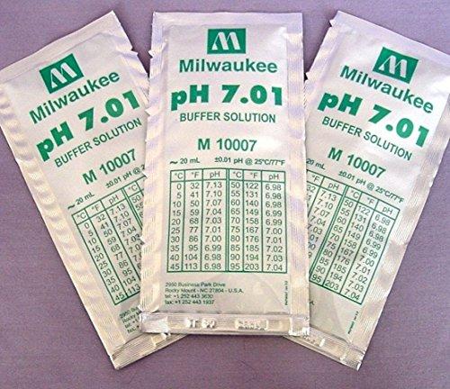 GVGs Shop 3 Pcs Premium Popular pH7.01 Buffer Packets Tester Digital Meter Calibration Volume ()