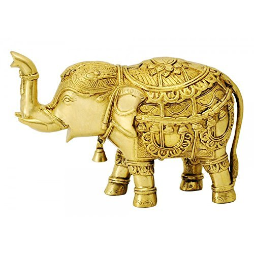 ITOS365 Brass Trunk Up Elephant Statues - Showpiece Metal Statue - Lucky Figurine- Home Décor Gifts Item ()