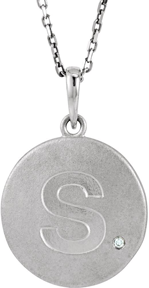 Sterling Silver .005 CTW Diamond LetterS Initial Disc 18 Necklace