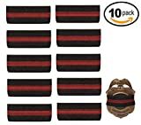 10-PACK Thin Red Line Mourning Band Black Fire Department Badge Shield Funeral Honor Guard Mourning Band Strap 3/4''
