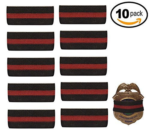 10-PACK Thin Red Line Mourning Band Black Fire Department Badge Shield Funeral Honor Guard Mourning Band Strap 3/4'' by Choice4ever