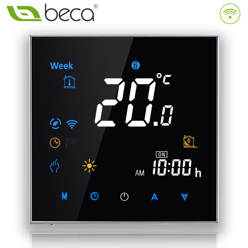 BECA 3000 Series 3/16A LCD Touch Screen Water/Electric/Boiler Heating Intelligent Programming Control Thermostat with WIFI Connection (Calentamiento de caldera, Negro) Xiamen Beca di risparmio energetico Technology Co. Ltd