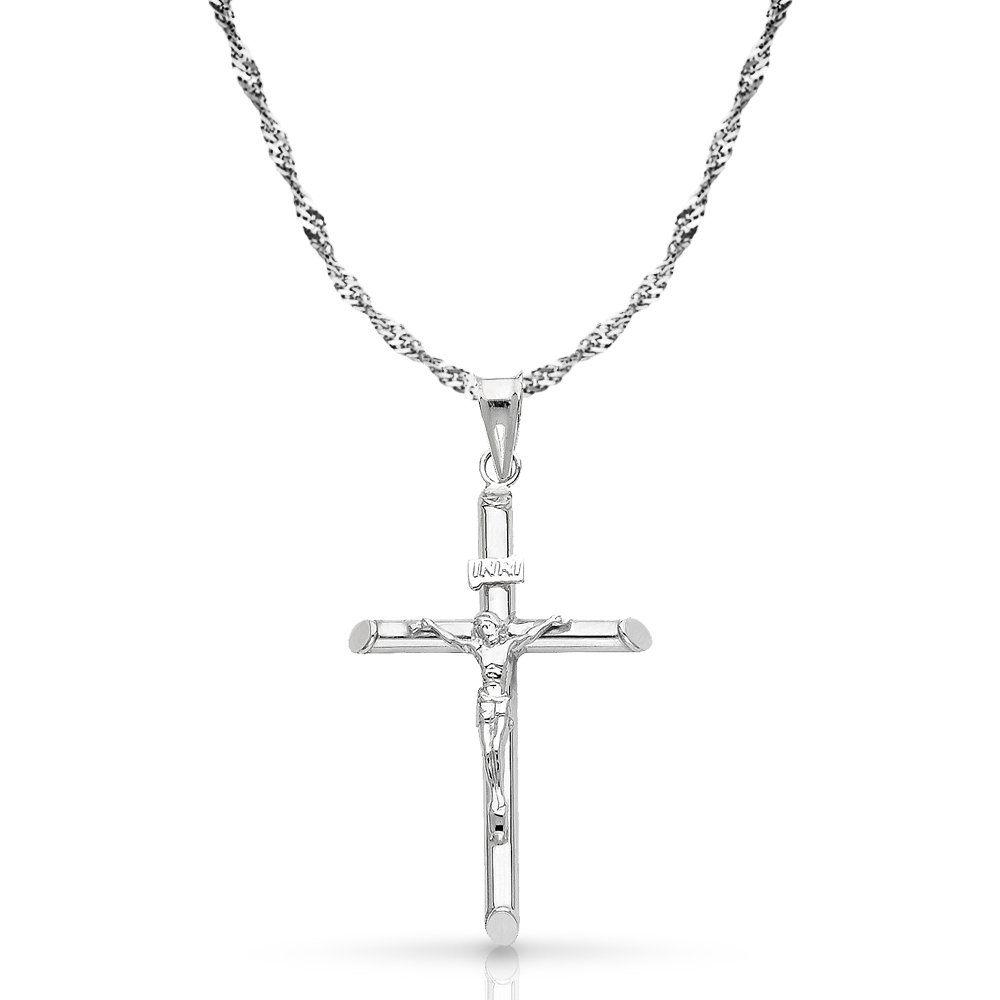 14K White Gold Crucifix Cross Pendant with 1.2mm Singapore Chain Chain Necklace - 22''