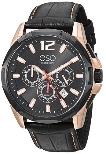ESQ Men's 'Sport' Quartz Stainless Steel and Leather Casual Watch, Color Black (Model: 37ESQE14001A)