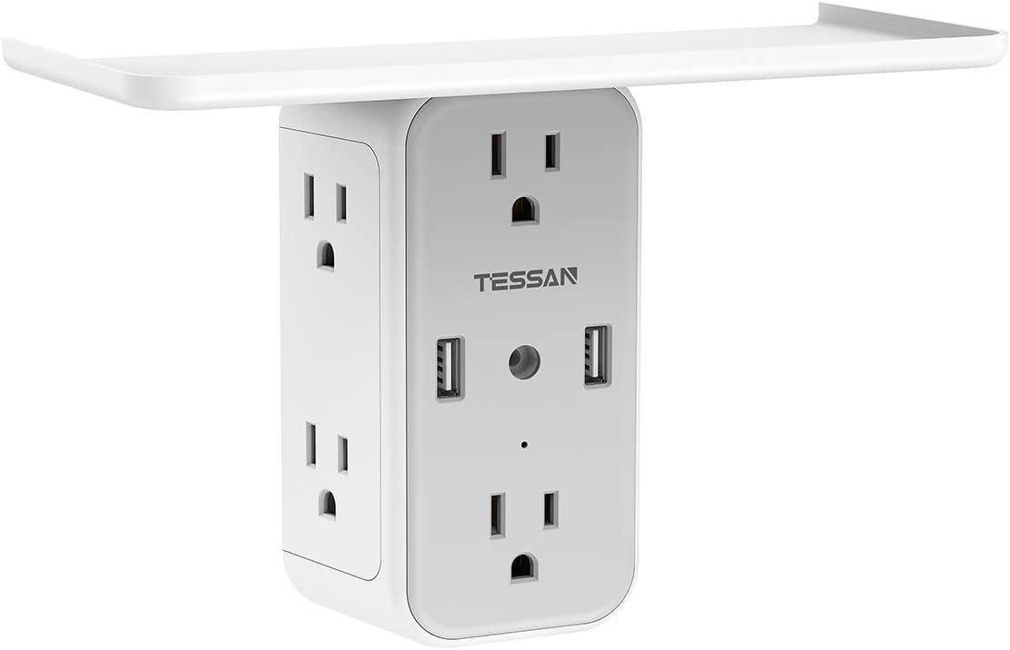 Outlet Extender Multi Plug Surge Protector with Shelf, TESSAN 6 Outlet Wall Mount Power Strip with 2 USB Charger, Multiple Socket Splitter Expander for Home and Dorm Essentials