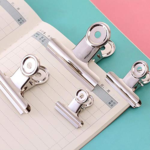Clip Holder & Clip Dispenser | (60pcs/lot) 30mm Round Metal Grip Clips Silver Bulldog Clip Stainless Steel Ticket Clip Stationery | by KAIZOO by KAIZOO