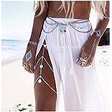 Ikevan Hot Selling Lady Yoga Metal Tassel Body Belly Waist Chain Gothic Bikini Bar Beachwear (Silver)
