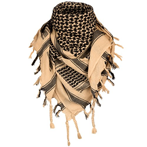 Survival General 100% Cotton Shemagh Tactical Military Keffiyeh Scarf Wrap Emergency Towel (Tan/Black)