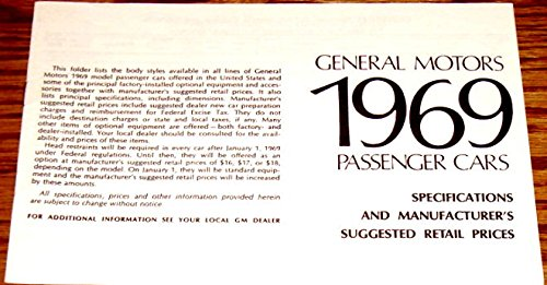 1969 GM PONTIAC PASSENGER CARS SPECIFICATIONS And SUGGESTED RETAIL PRICE'S - Firebird,Tempest, Custom's, Le Mans, Safari, GTO,Catalina, Executive, Bonneville and Grand Prix