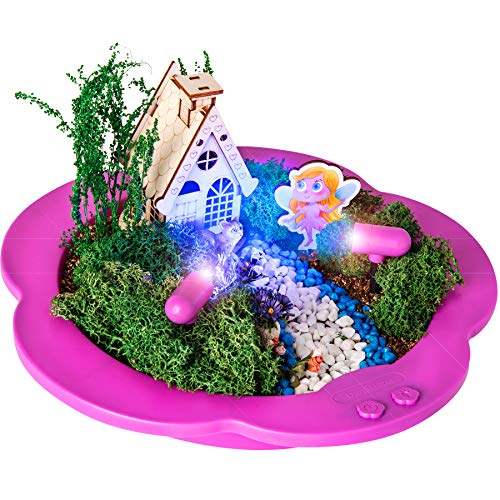 Light-up Fairy Garden Kit - Create, Plant & Grow a Magical Enchanted Light-up Fairy World - Everything Included - Great Craft STEM Gift for Kids ()