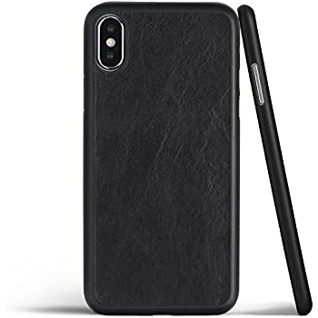 timeless design 12c5c 7db4d totallee iPhone X Leather Case, Thinnest Cover for Apple iPhone X - Ultra  Thin, Slim & Real Premium Genuine Leather Back (Black)