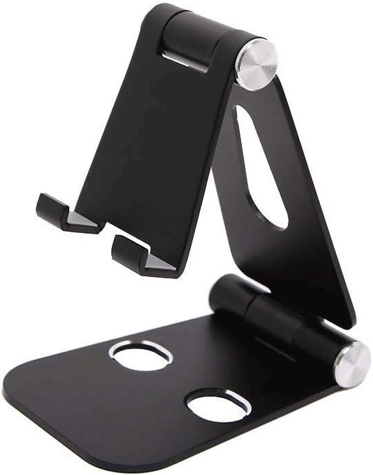 DEjh Aluminum Alloy Mobile Phone Desktop Mobile Phone Holder Foldable with Silicone Pad for Bedroom Bedside Self-Timer