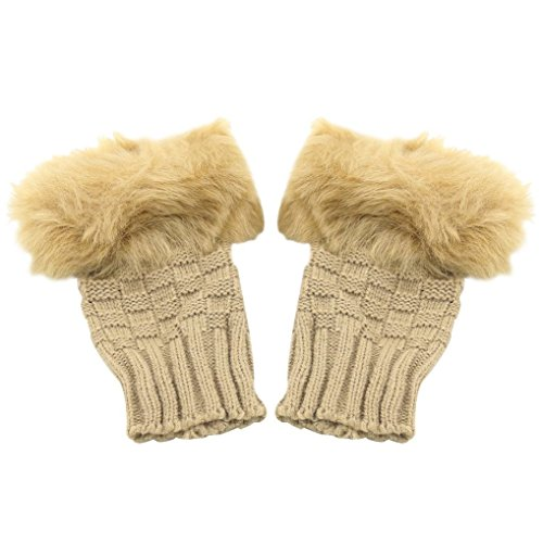 Braceus Women's Winter Faux Rabbit Fur Wrist Fingerless Gloves Mittens - Camel 1