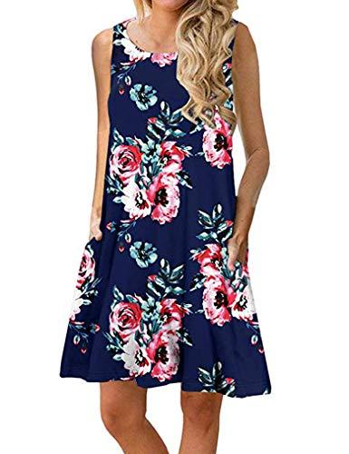 Sherosa Women's Summer Sleeveless Bohemian Print Tunic Swing Loose Pockets T-Shirt Dress (XXL, Navy Blue)