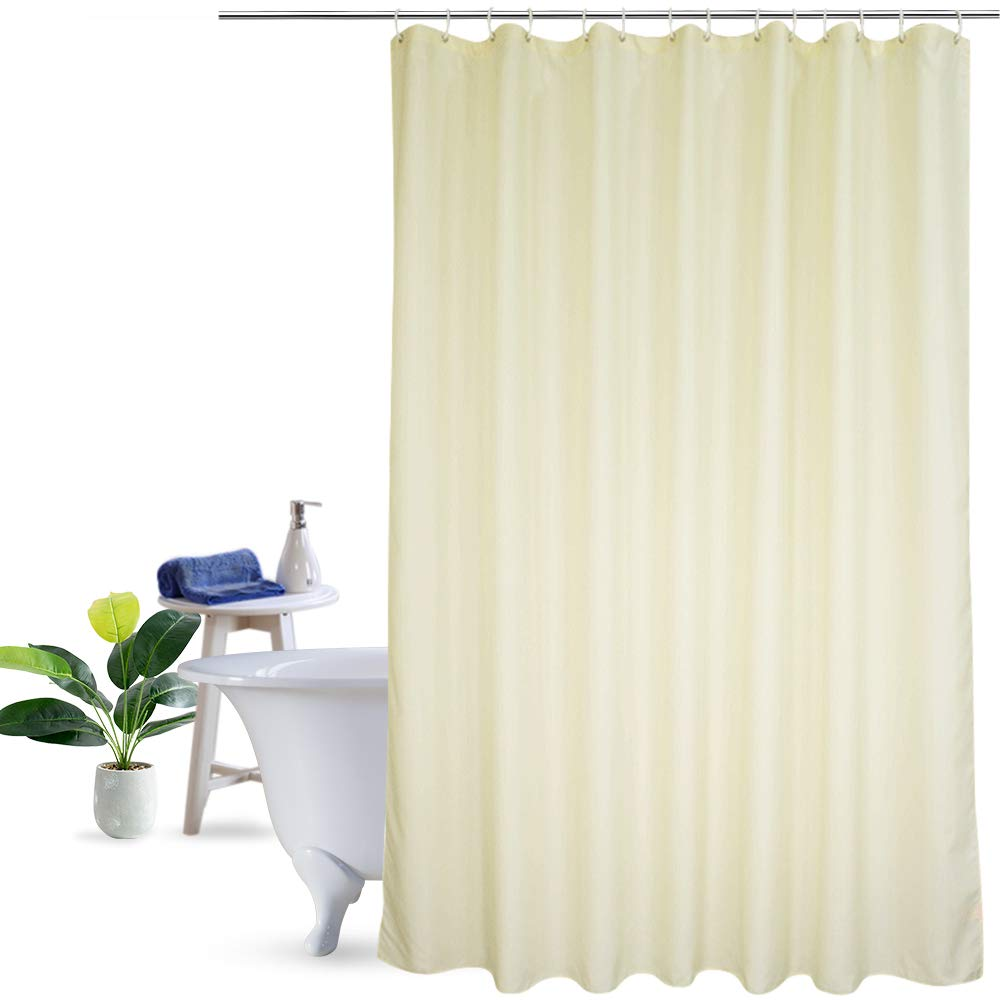 Ufriday Eco-Friendly Shower Curtain Poly Fabric Water Repellent with Reinforced Top Holes, Everyday Shower Curtain Liner Mildew-Free,Use Standalone, Classic Beige Color in X Long Size, 72 by 78 inches