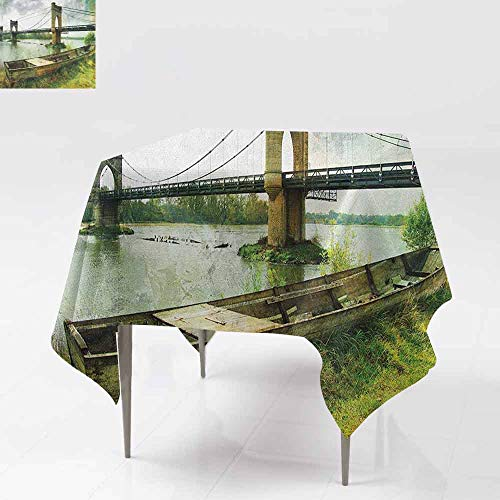 AndyTours Square Tablecloth,Landscape,Bridge and Old Boat on Riverside