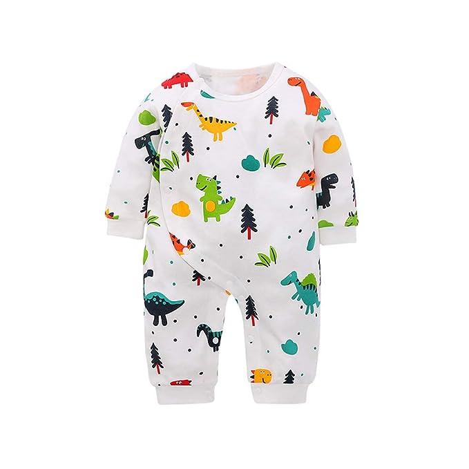 Douding Recién Nacido bebé niños niñas Mono Adorable Dinosaurio Manga Larga con Capucha Romper Trajes (
