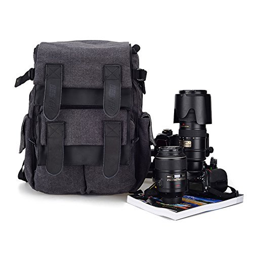 Dslr SLR Waterproof Camera Backpack by BESTEK - For Canon Nikon SLR Camera; Great as Rucksack too