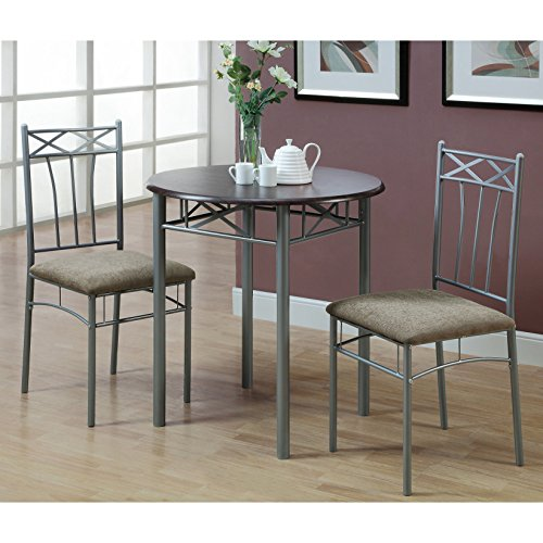 Wood Finish Table Piece 3 - Monarch Specialties Cappuccino Finish Wood and Silver Metal Bistro Dining Set, 3-Piece