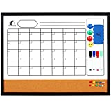 dry board markers - Whiteboard Calendar 24 x 18 in with Wooden Frame - Magnetic Monthly Planner Dry Erase/Cork Board + 1 Eraser, 4 Dry Wipe Markers, 4 Magnets and 10 Pins - Small White Bulletin Board - Real Wood Frame