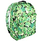 16 inch Green Maple Leaves Pattern Student School Bookbag Backpack, Bags Central