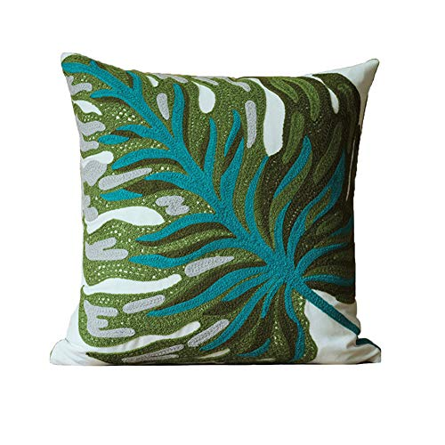(blue page Banana Leaf Embroidered Throw Pillow Cover - Home Decorative Cushion Covers, Plant Leaves Design Cotton Pillows Sham for Couch Sofa/Bed, 18