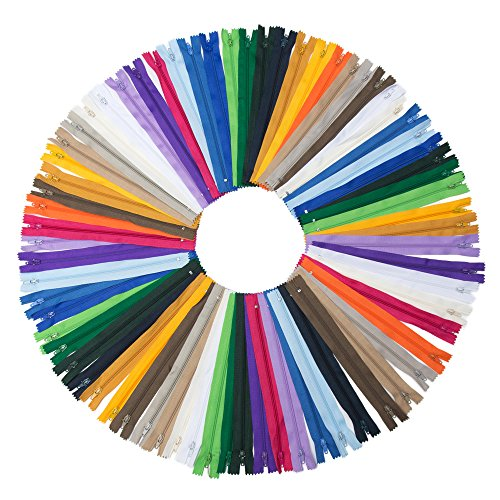 YAKA 60pcs 9 Inch Nylon Coil Zippers Sewing Zippers for Tailor Sewing Crafts (20 Color) ()
