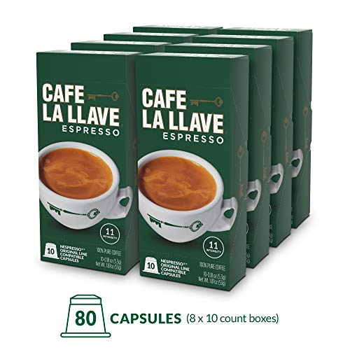 Café La Llave Espresso Capsules, Intensity 11 (80 Pods) Compatible with Nespresso OriginalLine Machines, Single Cup - Espresso Pods Coffee