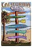 Southern California Beaches - Destinations Sign (12x18 Aluminum Wall Sign, Wall Decor Ready to Hang)