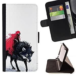 For Apple Iphone 6 PLUS 5.5 Red Riding Hood & Evil Wolf Beautiful Print Wallet Leather Case Cover With Credit Card Slots And Stand Function