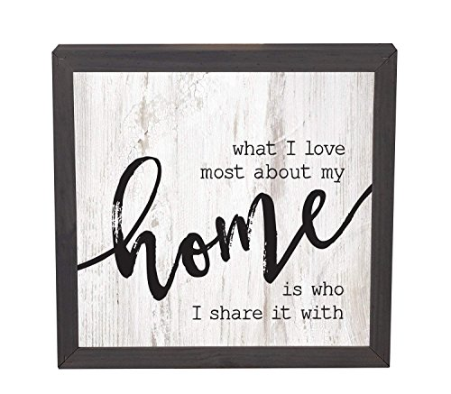 CELYCASY Love Most About My Home White Wash 11 x 11 Inch Solid Pine Wood Farmhouse Frame Wall Plaque