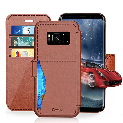 Samsung Galaxy S 8 Plus / S8 Plus Leather Wallet Case with Cards Slot and Metal Magnetic, Slim Fit and Heavy Duty, TAKEN Plastic Flip Case with Rubber Edge, for Women, Men, Boys, Girls (Dark Brown)