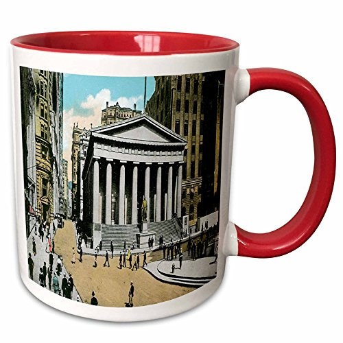 (3dRose BLN Scenes of New York City Collection - US Sub Treasury Building New York City - 15oz Two-Tone Red Mug (mug_170148_10))