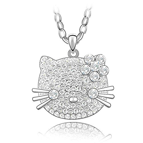 Silver Swarovski Elements Crystal Diamond Accent Cat Pendant Chain Necklace for Women, with a Gift Box, White