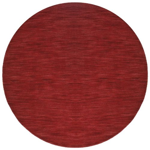 St Croix Trading Solid/Striped Round Area Rug 6' Red Fusion Collection