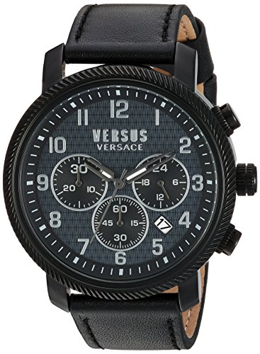 Versus-by-Versace-Mens-HOXTON-SQUARE-Quartz-Stainless-Steel-and-Leather-Casual-Watch-ColorBlack-Model-S70010016