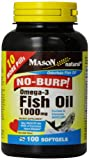 Mason Vitamins No Burp Omega-3 Fish Oil 1000Mg Odorless Fish Oil Softgels, 100-Count Bottle