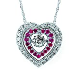 Brilliance in Motion 14K White Gold Diamond and Ruby Double Heart Pendant Necklace