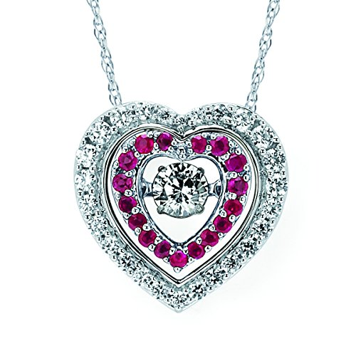 (Brilliance in Motion 14K White Gold Dancing Diamond and Ruby Double Heart Pendant Necklace, 18
