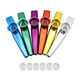 Petift Set of 6 Colors Metal Kazoo Musical Instruments Flutes Good Companion for Guitar,Ukulele, Violin, Piano Keyboard for Kids Music Lovers