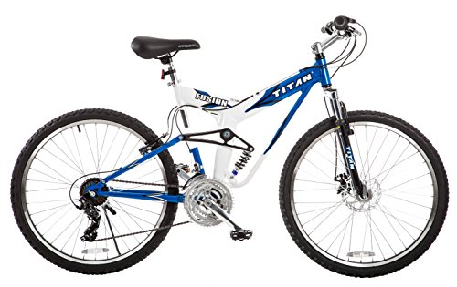 TITAN Fusion Dual Suspension Mountain Bicycle, Blue and White, Disc-Brake, Shimano Tourney, 26-Inch Wheels, 21-Speed Gearing, 19-Inch Frame Height