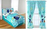 Disney Pixar Finding Dory Deluxe Kids Twin 7 Piece Bedroom Collection with Sheets Comforter Blanket Window Panels