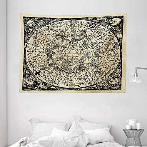 Ambesonne Astrology Tapestry, Series of Mystic Esoteric Old Map with Man with Vintages, Wide Wall Hanging for Bedroom Living Room Dorm, 80 X 60 , Ecru Black