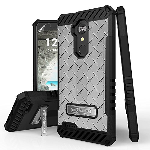 Duo Shield Armor Case (ZTE Blade X Max, Max XL, Blade Max 3, Zmax Pro, Grand X Max 2, Imperial Max, Max Duo Case, Trishield Durable Phone Cover With Detachable Lanyard Loop And Kickstand Card Slot - Diamond Plate Steel)