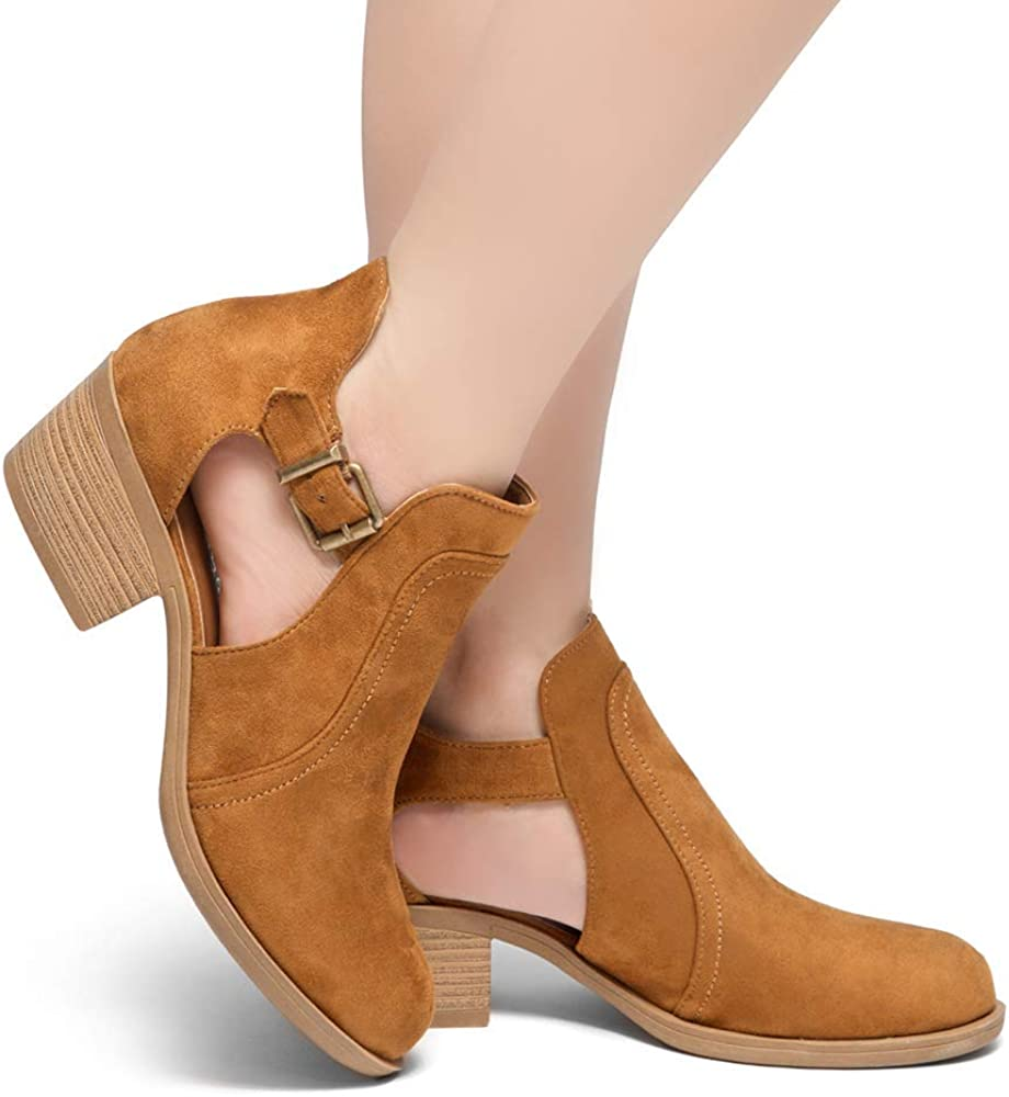 Herstyle Prisila Womens Comfortable Perforated Boots Closed Toe Cut-Out Buckle Casual Ankle Booties with Stacked Block Heel