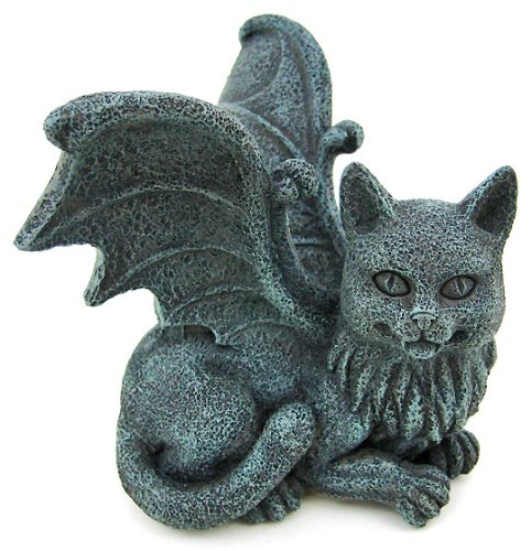 B000CPAE90 Winged Cat Gargoyle Computer Topper Shelf Sitter Statue by Pacific Trading 51C3DctuJEL