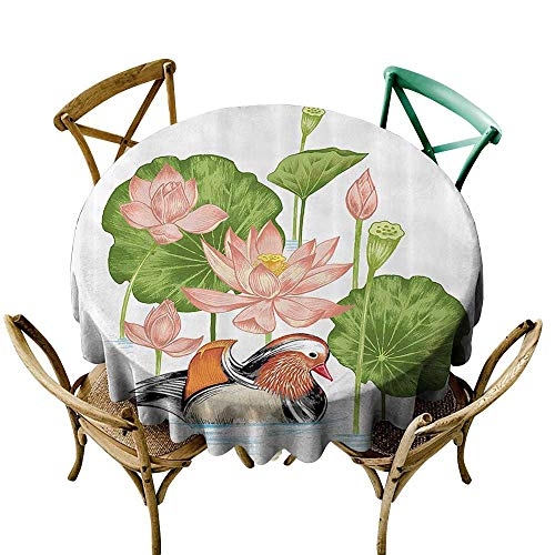 funkky Duck Oil-Proof and Leak-Proof Tablecloth Baby Mandarin Duckling in Pond with Lotus Lily Flowers Water Painting Style Arsty Print Easy Care D35 White Green Pink