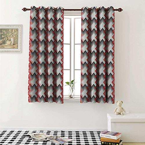 shenglv Geometric Waterproof Window Curtain Abstract Diagonal Thin Line Art Pattern British Tartan Inspired Zigzag Curtains Living Room W55 x L45 Inch Black White Vermilion