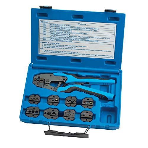 - Tool Aid SG SGT18980 Ratcheting Terminal Crimping Kit (Quick Change with 9 Die Sets)
